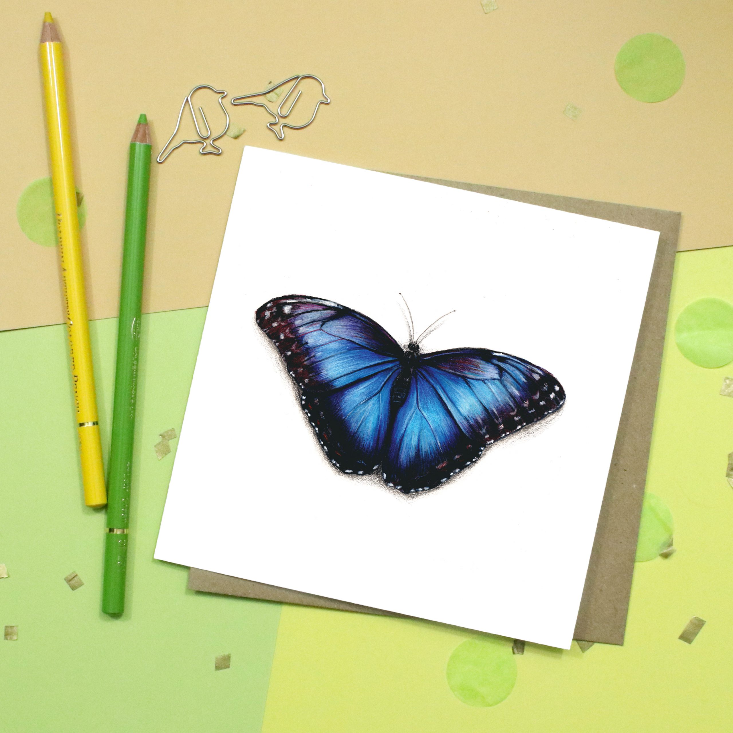 Blue Butterfly Card | Blue Morpho | Greetings Card