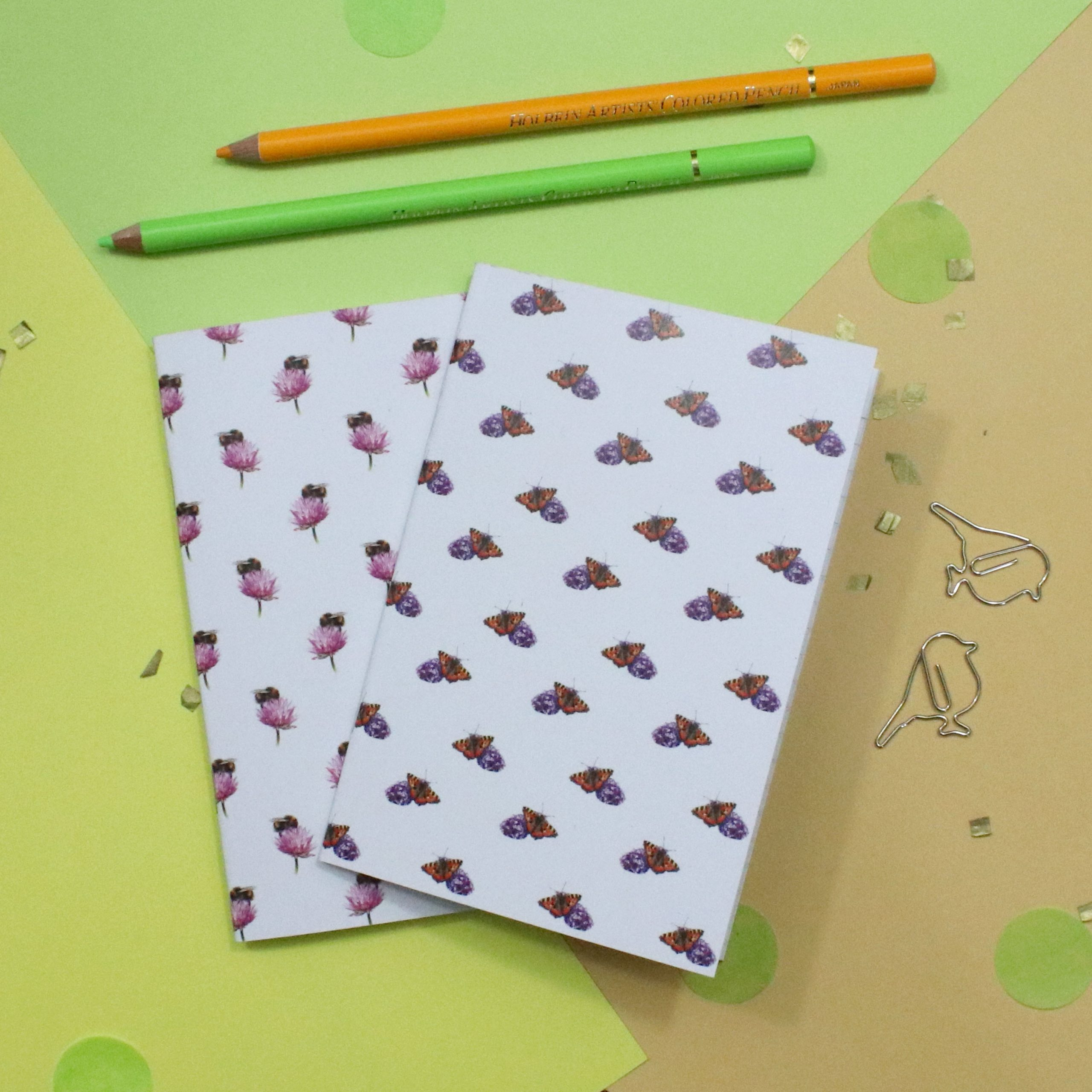 Bee & Butterfly Notebook Set | Bee Gift | A6 Lined Notebooks